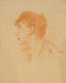Unidentified: Lady with Dark Hair in profile, probably a preparatory study for Evening Prayer 110942