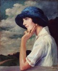 Forgery: A lady in a blue hat wearing a white shirt 12668
