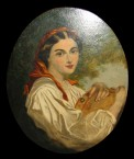Forgery: A Lady with a tambourine wearing a white blouse and a red headscarf 111553