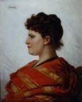 Forgery: A Lady in profile wearing a Red and Gold Stole 110564